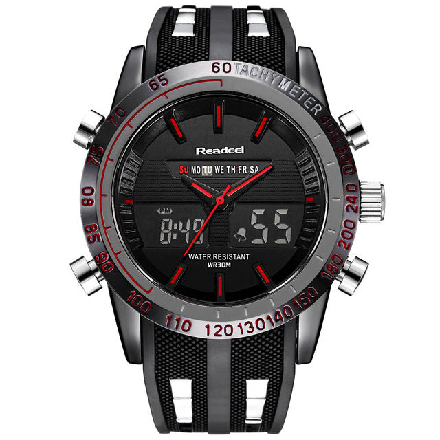 Dual Display Stainless Steel Sports Watch - Red - Mechanical Watches
