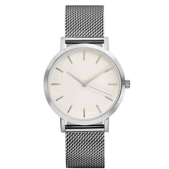 Stainless Steel Mesh Band Watch - Silver - Mechanical Watches