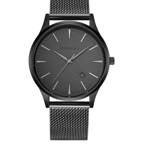 Mesh Band Minimalist Watch - Black Gray - Watches