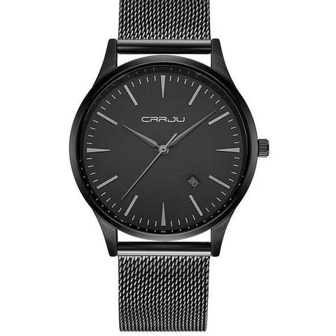 Mesh Band Minimalist Watch - Black Black - Watches