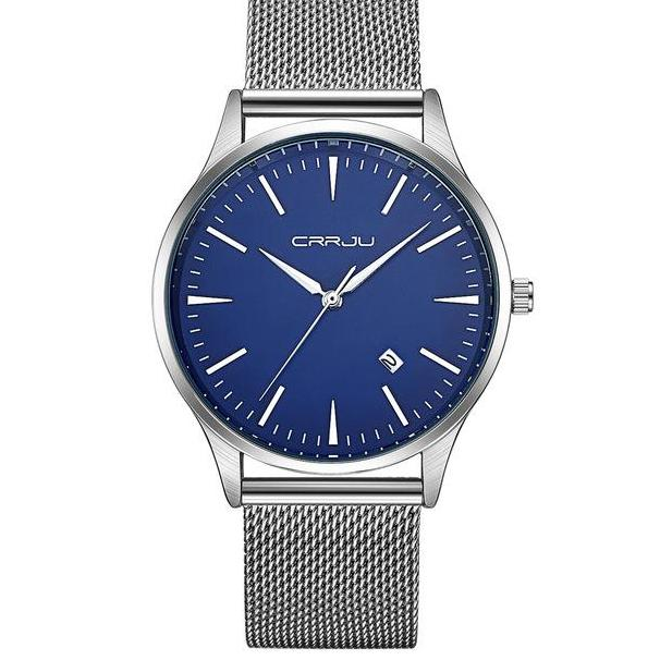 Mesh Band Minimalist Watch - Silver Blue - Watches