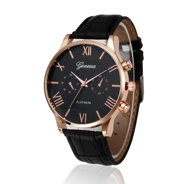Black And Rose Gold Leather Watch - Black - Leather Watches