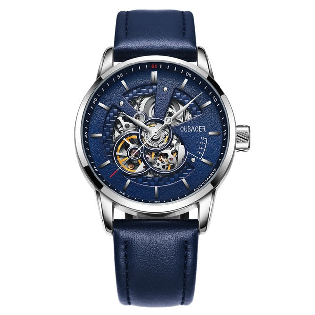 Leather Transparent Watch Face - Silver Blue 001A - Mechanical Watches