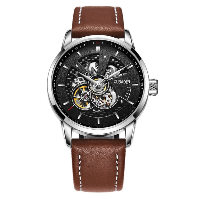 Leather Transparent Watch Face - Silver Black 001A - Mechanical Watches