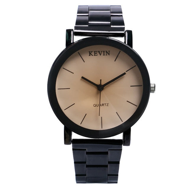 Minimalist Watch With Stainless Steel Band - Beige Dial - Leather Watches