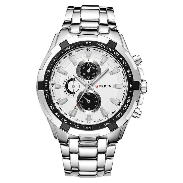 Classic Quartz Stainless Steel Watch - Silver White - Mechanical Watches