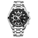 Classic Quartz Stainless Steel Watch - Silver Black - Mechanical Watches