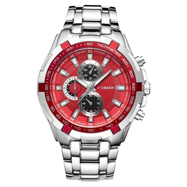 Classic Quartz Stainless Steel Watch - Silver Red - Mechanical Watches