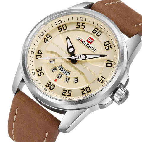 Mens Casual Leather Watch - Silver Yellows - Mechanical Watches