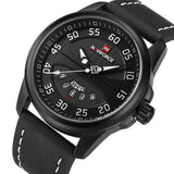 Mens Casual Leather Watch - Black White - Mechanical Watches