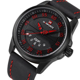 Mens Casual Leather Watch - Black Red - Mechanical Watches