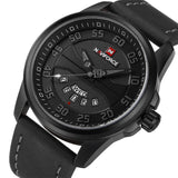 Mens Casual Leather Watch - Black Gray - Mechanical Watches