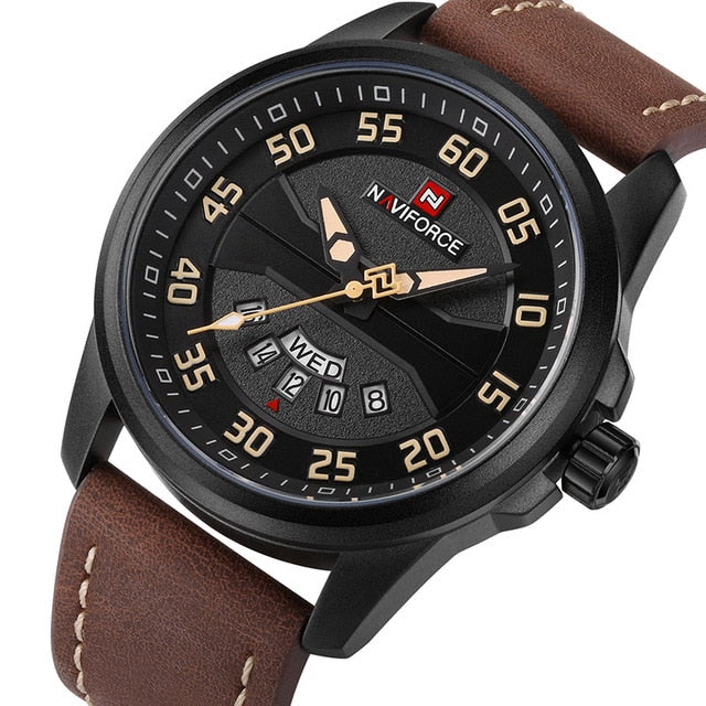 Mens Casual Leather Watch - Brown Yellows - Mechanical Watches