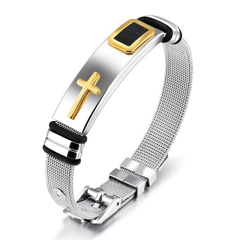 Stainless Steel Cable-Wire Bracelet Chain With Cross - Color 1 - Bracelets