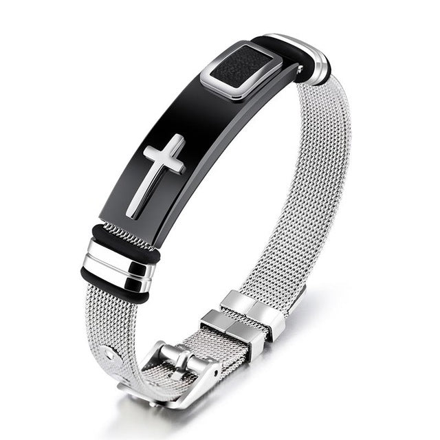 Stainless Steel Cable-Wire Bracelet Chain With Cross - Color 2 - Bracelets