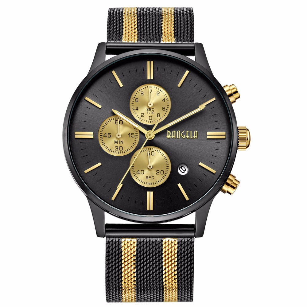 Gold Mesh Band Chronograph Watch - Watches