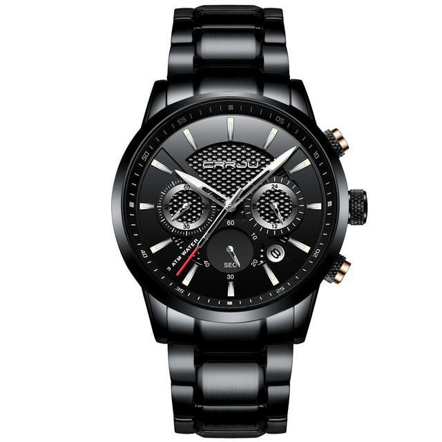 Stainless Steel Chronograph Watch - Black Black - Mechanical Watches
