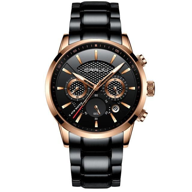 Stainless Steel Chronograph Watch - Golden Black - Mechanical Watches