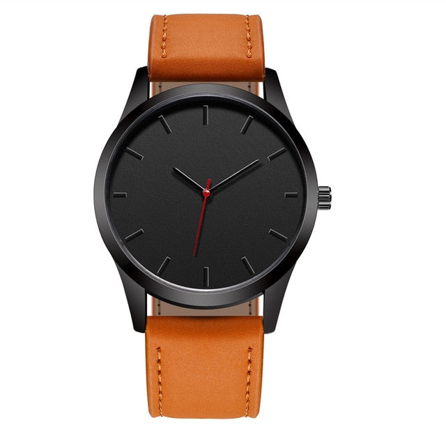 Black Face And Hands Minimalist Watch - Brown - Leather Watches