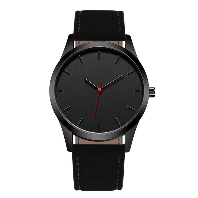 Black Face And Hands Minimalist Watch - Black - Leather Watches