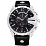 Stylish Mens Quartz Watch - Silver Black - Mechanical Watches