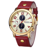 Waterproof Casual Watch - Golden Red - Mechanical Watches