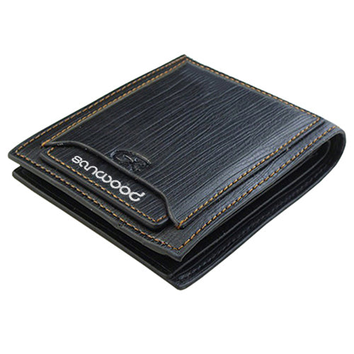 Universal Men Cow Leather Bifold Wallet - Black - Bifold Wallet