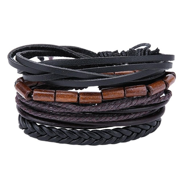 Mens Leather Bracelets & Bangles Set - Dark Brown Black - Bracelets