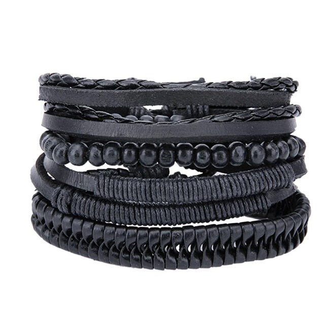 Mens Leather Bracelets & Bangles Set - Black - Bracelets