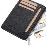Slim Leather Rfid Wallet With Zipper - Minimalist Wallets For Men