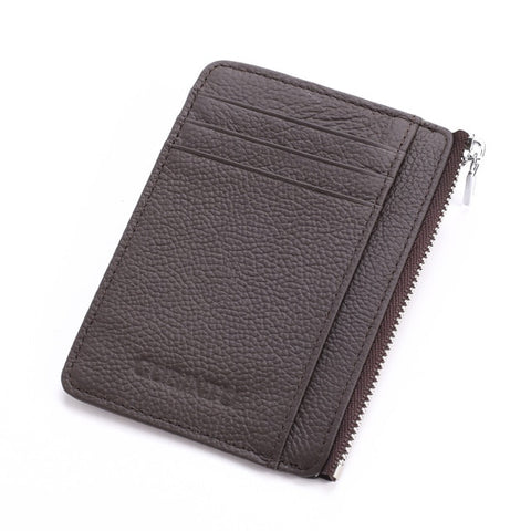 Slim Leather Rfid Wallet With Zipper - Brown - Minimalist Wallets For Men