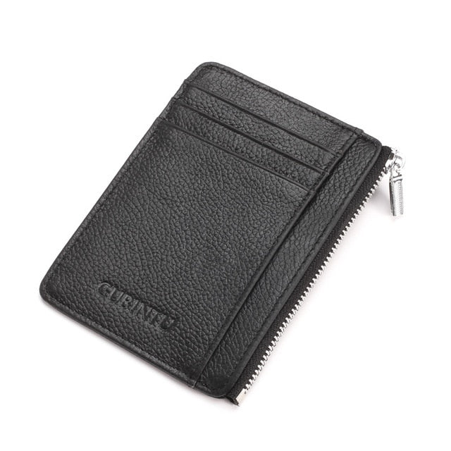 Slim Leather Rfid Wallet With Zipper - Black - Minimalist Wallets For Men
