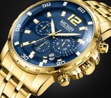 Mens Gold Stainless Steel Quartz Watch - Mechanical Watches
