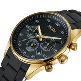 Gold Chronograph Watch With Stainless Steel Band - Mechanical Watches
