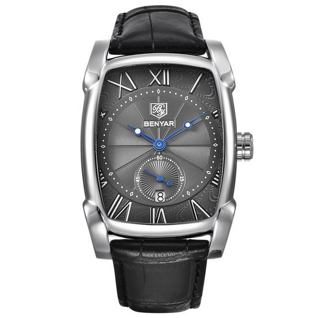 Leather Strap Mens Watches - Silver Gray - Leather Watches