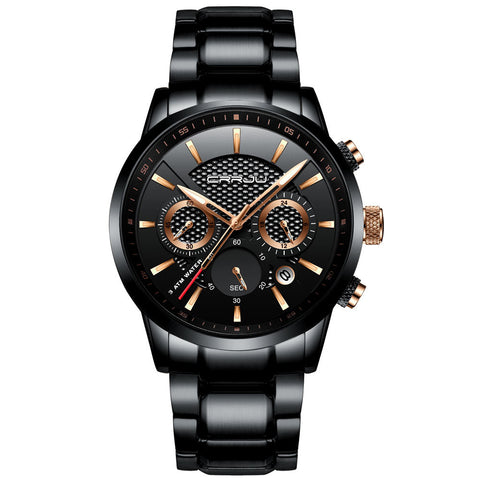 Quartz Stainless Steel Chronograph Watch - Black Gold - Stainless Steel