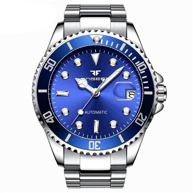 Classic Stainless Steel Watch - Steel Blue - Stainless Steel