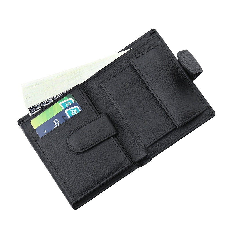 Leather Bifold Wallet With Clasp - Bifold Wallet