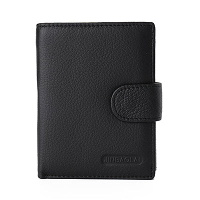 Leather Bifold Wallet With Clasp - Black - Bifold Wallet