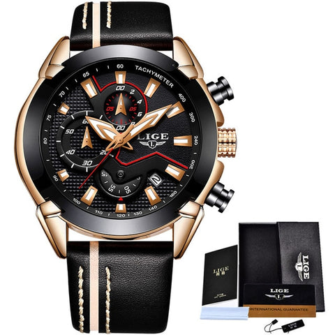 Water Resistant Sport Watch - Gold Black - Leather Watches