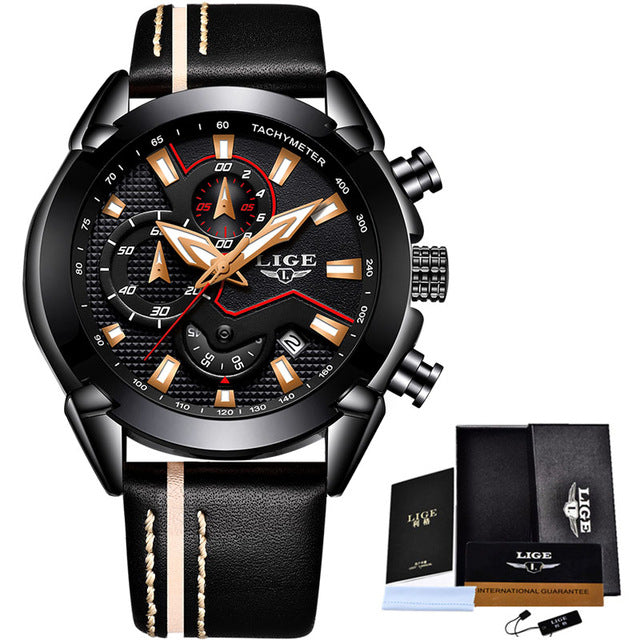 Water Resistant Sport Watch - Black Gold - Leather Watches