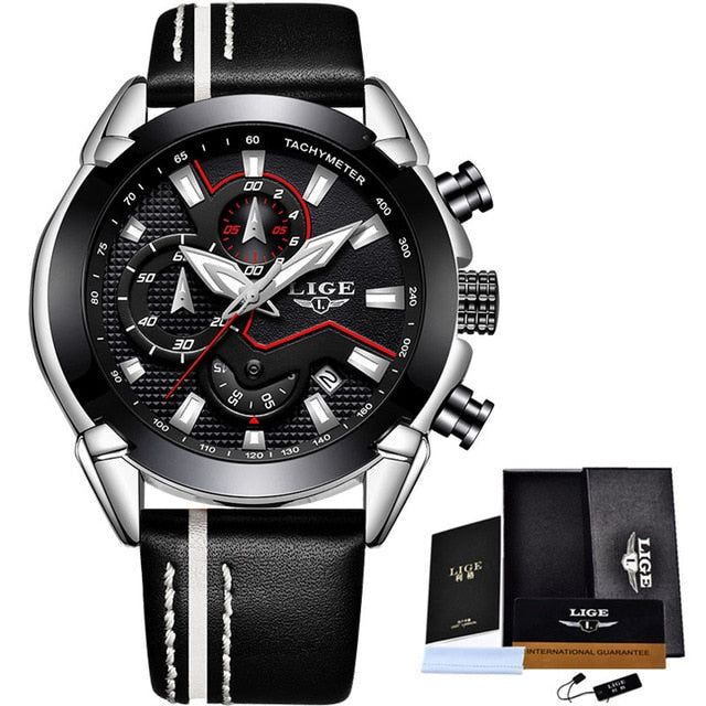 Water Resistant Sport Watch - Silver Black - Leather Watches