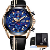 Water Resistant Sport Watch - Gold Blue - Leather Watches