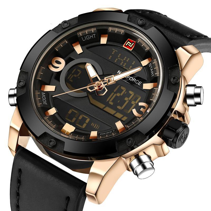 Dual Display Leather Quartz Watch - Gold Black - Leather Watches