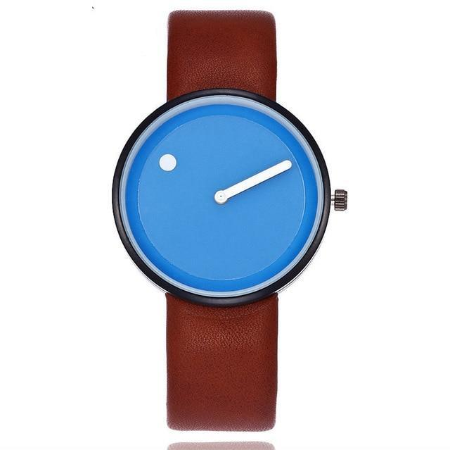 Numberless Watch - Brown Blue - Leather Watches