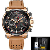 Leather Automatic Quartz Watch - Leather Gold Brown - Leather Watches