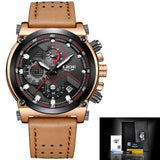 Leather Automatic Quartz Watch - Leather Brown Black - Leather Watches