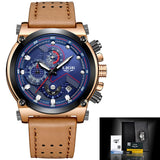 Leather Automatic Quartz Watch - Leather Gold Blue - Leather Watches