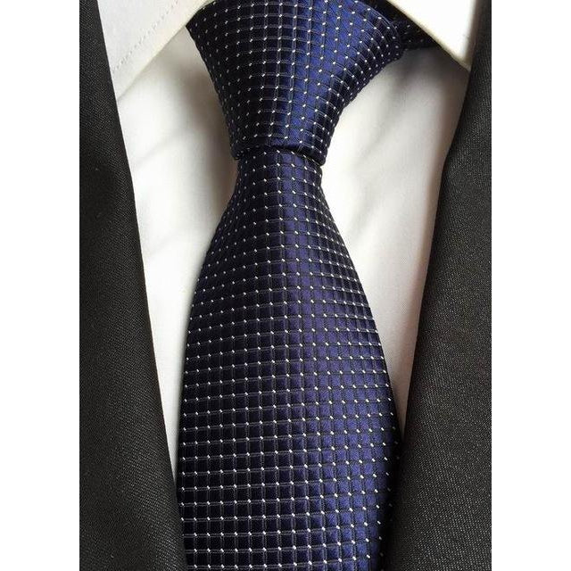 Dark Blue Necktie with Small Squares and White Dots