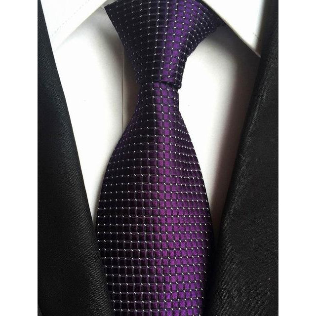 Dark Purple Necktie With Squares